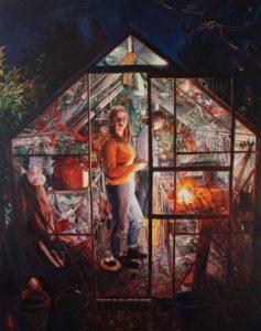 'Geraniums', Ruth Murray, Oil on canvas, 180 x 160 cm
