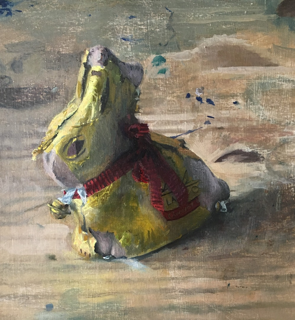 'Last years easter bunny', Sam Rahamin, Oil on paper, 20 x 24 cm
