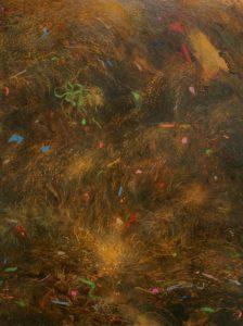 'Seaweed, Plastic & Detritus', Sarah Bold, Oil and mixed media on board, 31 x 22 cm