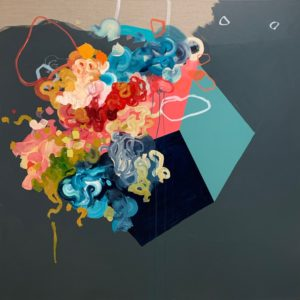 'New Year's Eve', Shannon Pawliw, Acrylic and ink on raw linen., 120 x 120 cm