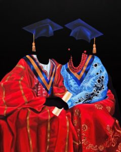 'Mine or Yours?', Sharon Adebisi, Acrylic on canvas, 100 x 81 cm