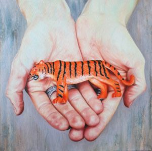 'Like the tiger, you are too beautiful to become extinct', Solly Solomon, Oil on canvas, 40 x 40 cm