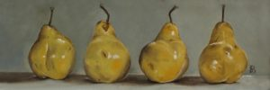 'Four Pears', Sophie Botsford, Oil on panel, 12 x 31 cm
