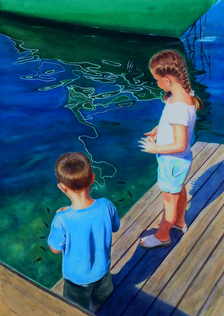 'Feeding fish', Suzanne Hay, Watercolour on paper, 32 x 47cm