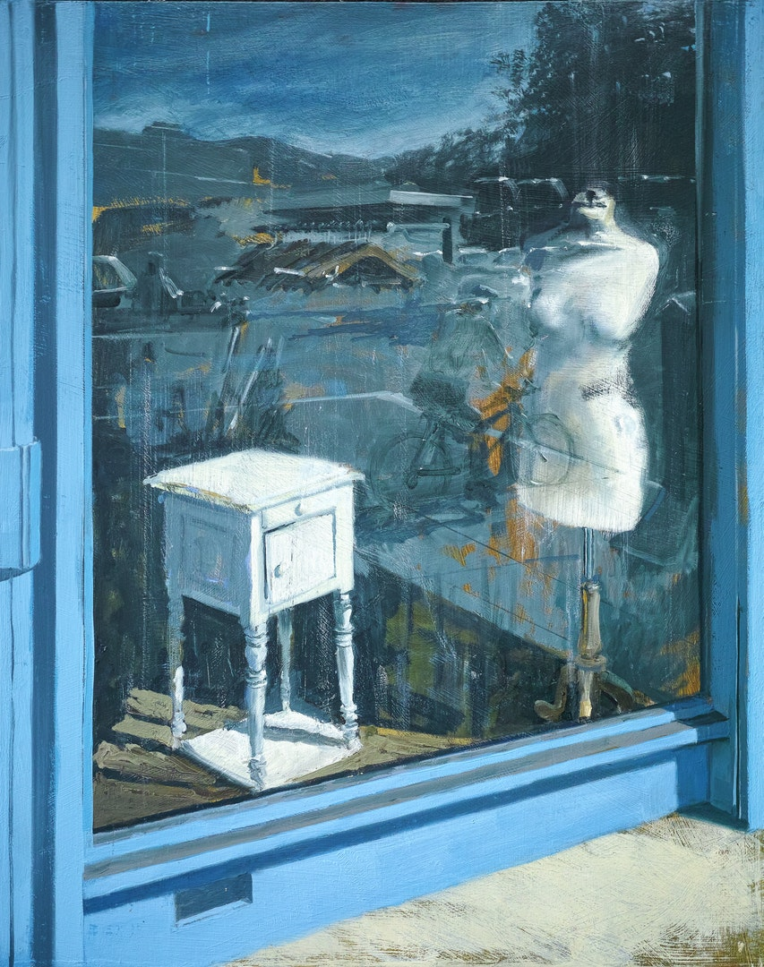 'Empty Charity Shop', Tim Goffe, Oil on panel, 60 x 50 cm