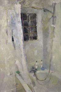 'Bathroom E9', Tim Patrick, Oil on board, 60 x 90 cm