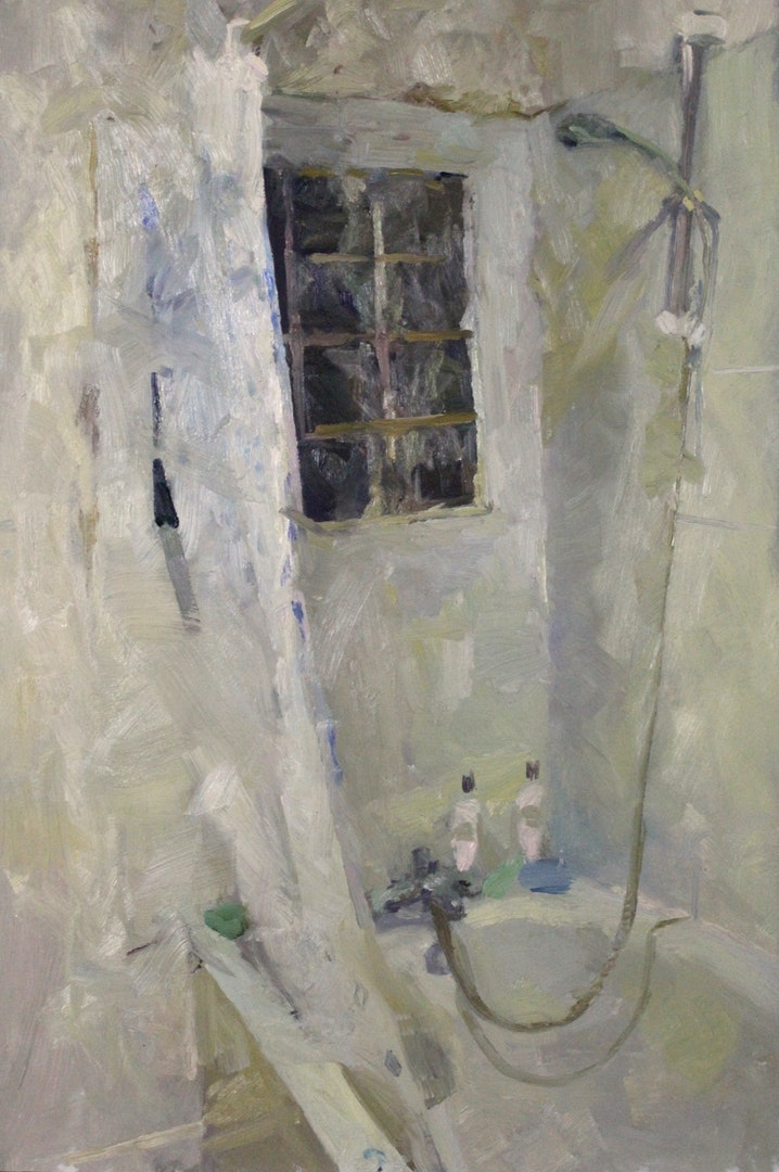 'Bathroom E9', Tim Patrick, Oil on board, 60 x 90 cm