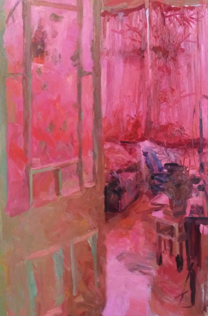 'Quinacrodone Room', Tim Patrick, Oil on board, 60 x 90 cm
