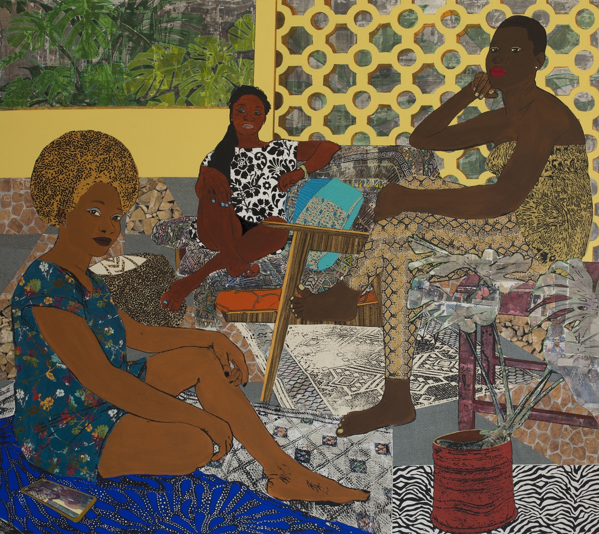 'In the Garden', Tjasa Rener, Acrylic, screen-print, transfer, colored pencil, charcoal, pastel, decorative paper on canvas, 180 x 200 cm