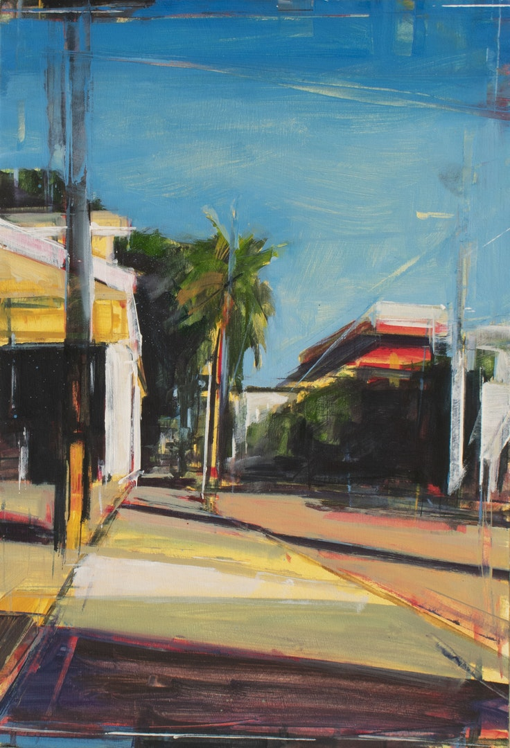 'Nadi Street View', Tom Voyce, Oil on board, 40 x 27 cm