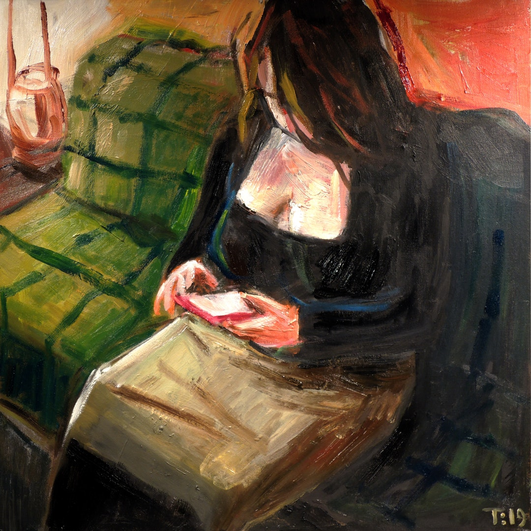 'Woman In Sofa', Tore Bahnson, Oil on board, 40 x 40 cm