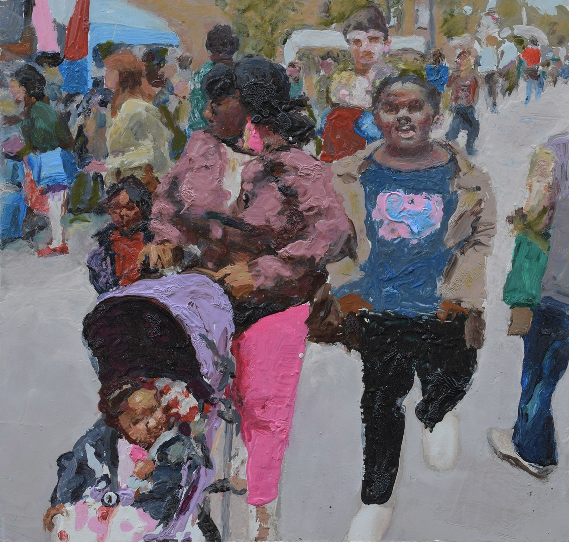 'Family shopping (Deptford)', Trevor Burgess, Oil on board, 32.5 x 34 cm