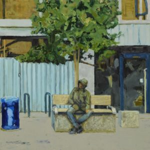 'Man on a bench (Giffin Square) 2', Trevor Burgess, Oil on board, 100 x 100 cm