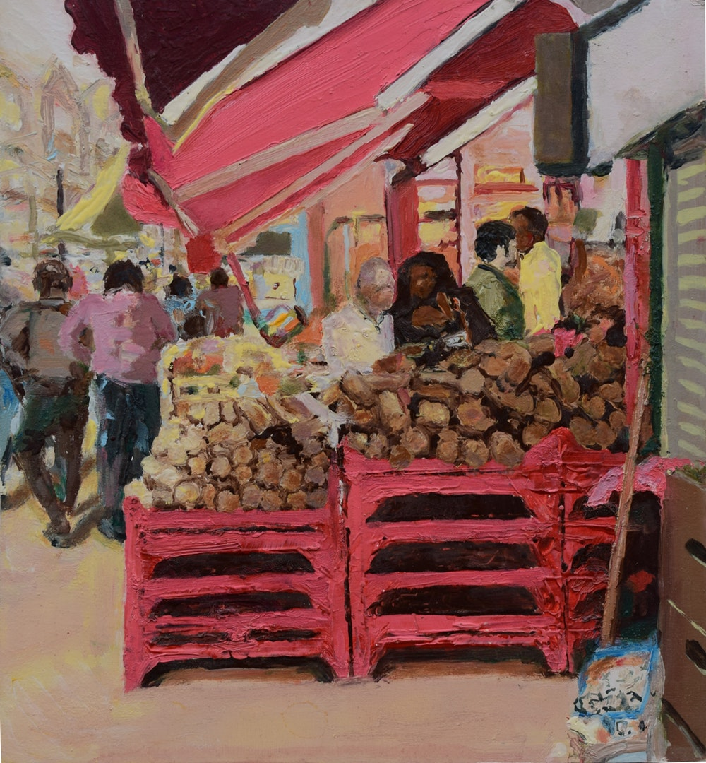 'Street scene (Deptford)', Trevor Burgess, Oil on board, 45 x 42 cm