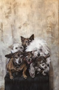 'Happy Old Dogs', Vega Bautista Cabezón, Acrylic and Oil on canvas, 120 x 80 cm