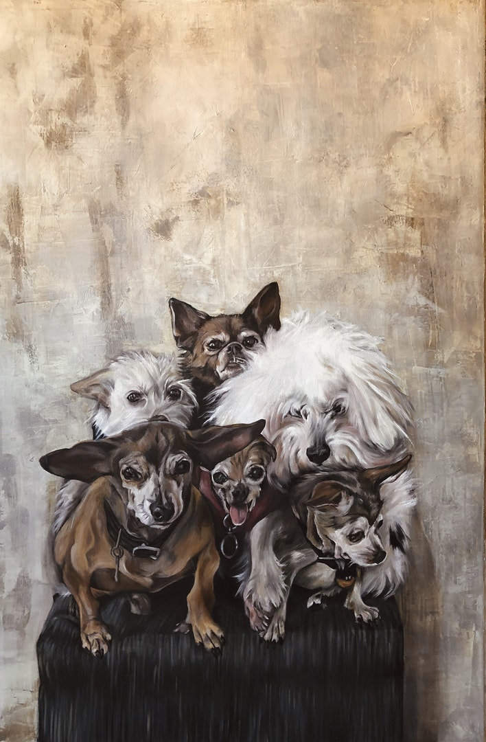 'Happy Old Dogs', Vega Bautista Cabezón, Acrylic and Oil on canvas, 120 x 80 cm