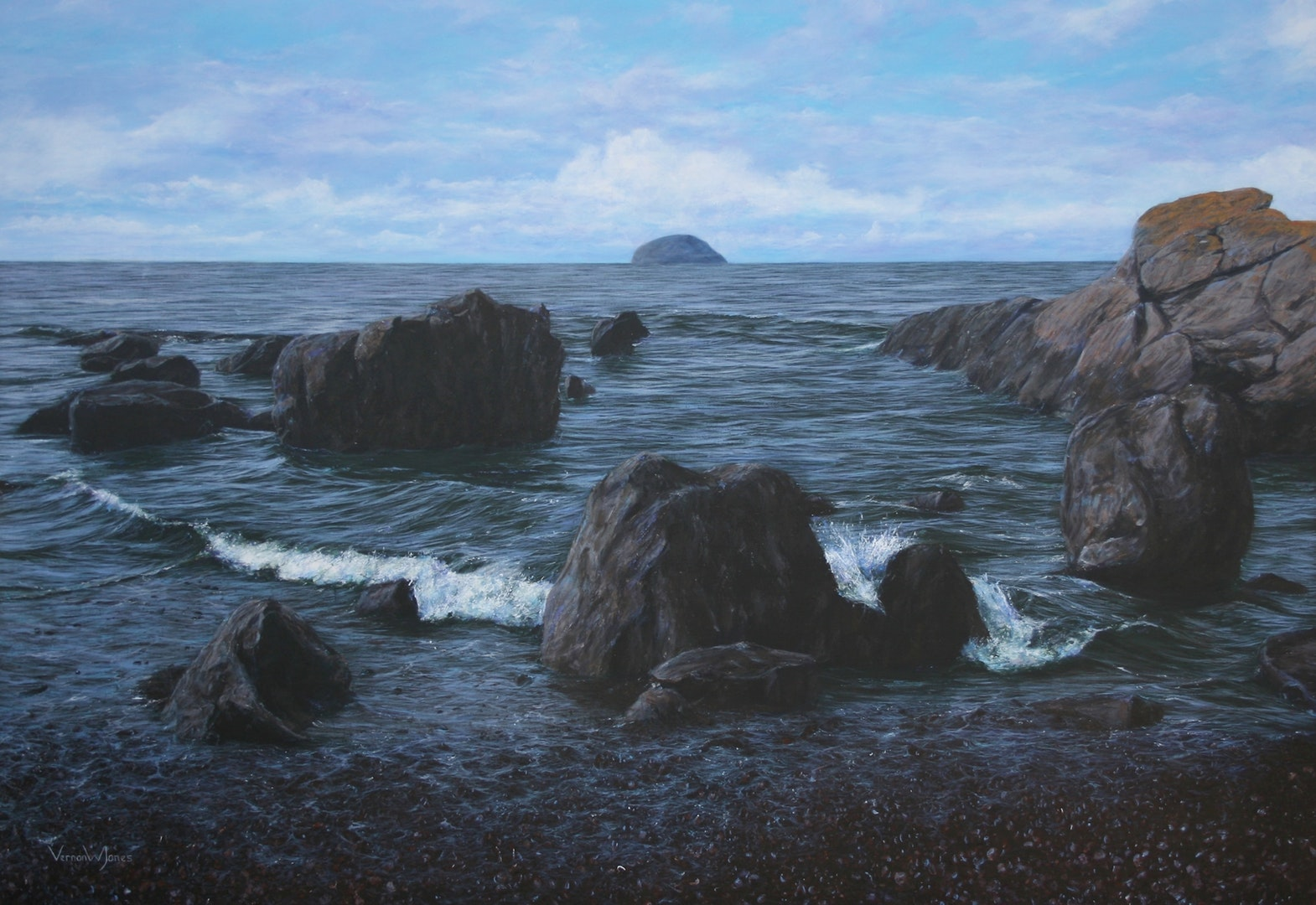 'Passing between the rocks at Girvan', Vernon W Jones, Acrylic on canvas, 110 x 160 cm