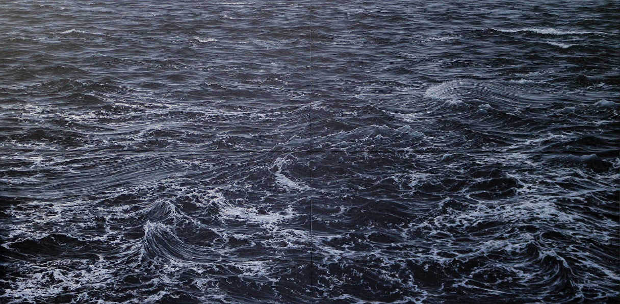 'Rough sea battling the rock wall at Ogmore (Tetraptych)', Vernon W Jones, Acrylic on canvas, 200 x 400 cm
