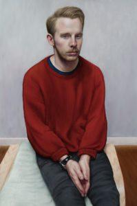 'Stefan on Swedish Footstool', Victor Harris, Oil on linen, 60 x 90 cm