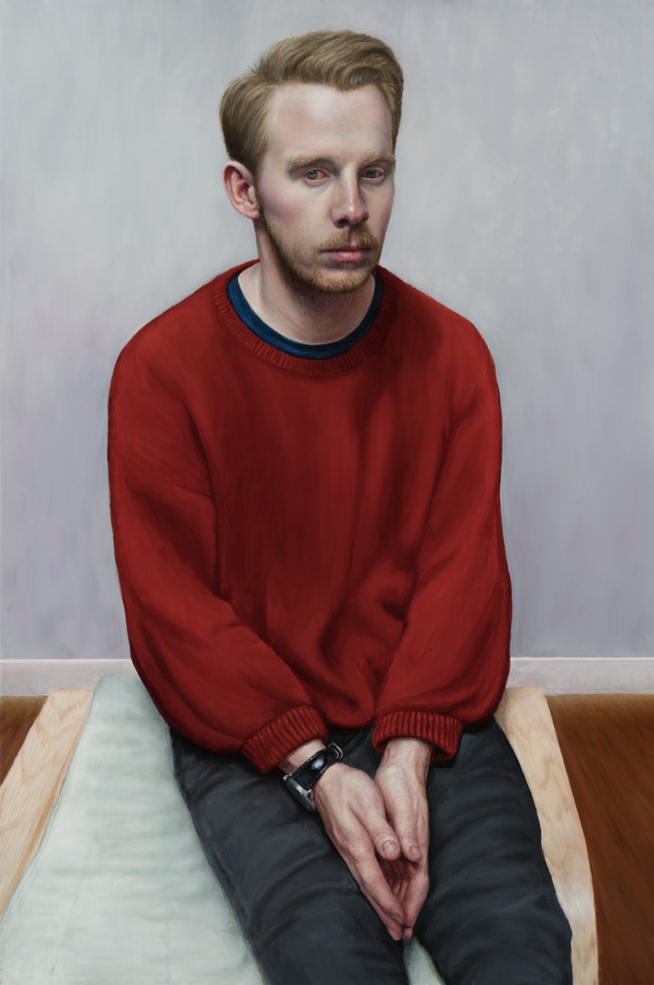 'Stefan on Swedish Footstool', Victor Harris, Oil on linen, 60 x 90 cm