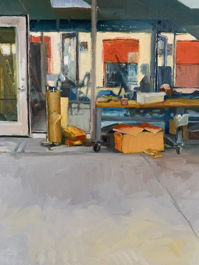 'Sunset Reflection in Woodshop', Yuntong Wu, Oil on canvas, 117 x 92 cm