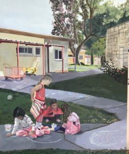 'Kids life on the Kibbutz', Zohar Flax, Oil on canvas, 60 x 50 cm