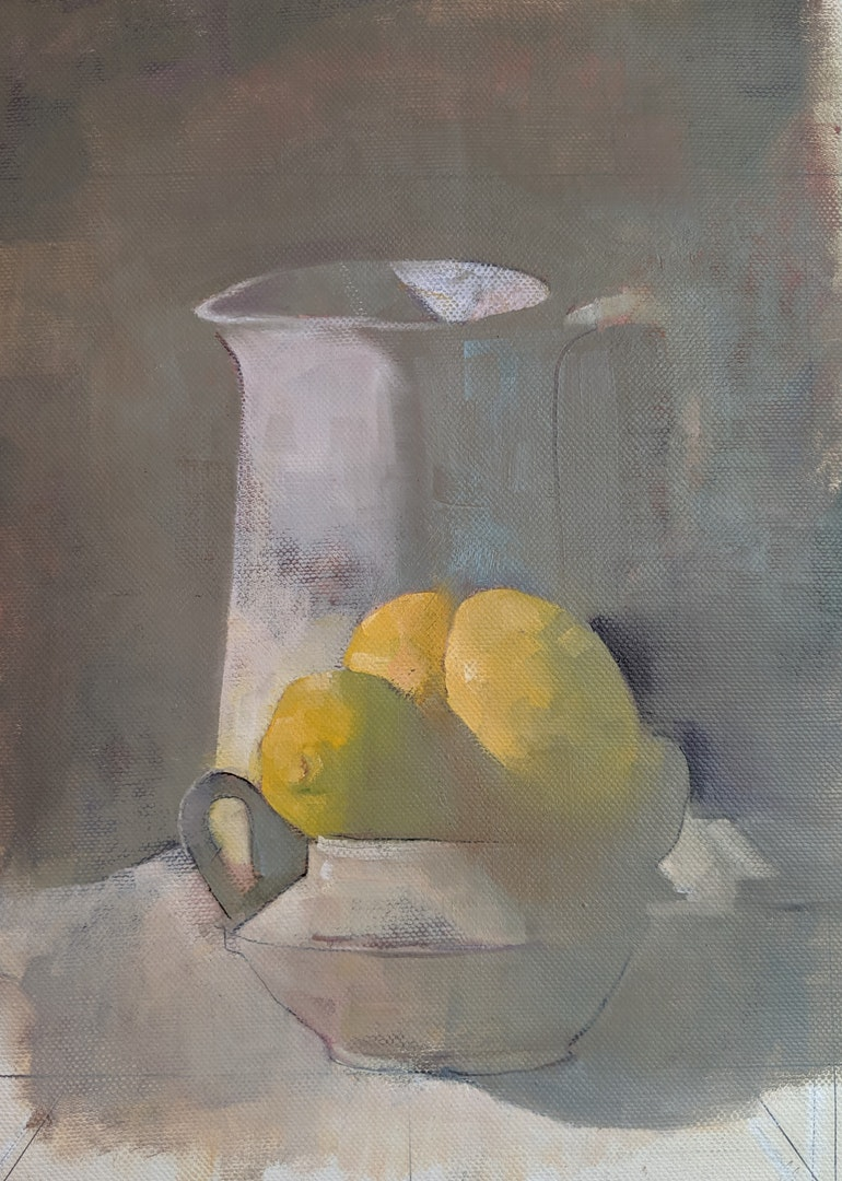 'lemons', Zohar Tal Inbar, Oil on canvas, 50 x 40 cm