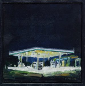 'Petrol Station Nocturne', Tim Goffe, Oil on panel, 20 x 20 cm