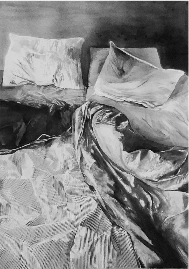 'Bedroom', A. Degann, Indian ink on paper, 70 x 50 cm