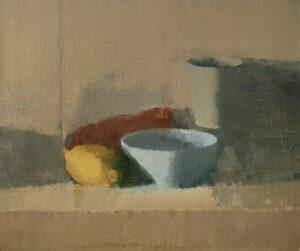 'The blue bowl', Agata Smolska, Oil on linen, 28 x 34 cm