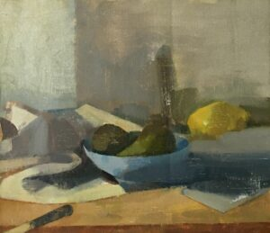 'The still life study with a bowl and a knife', Agata Smolska, Oil on linen, 35 x 40 cm