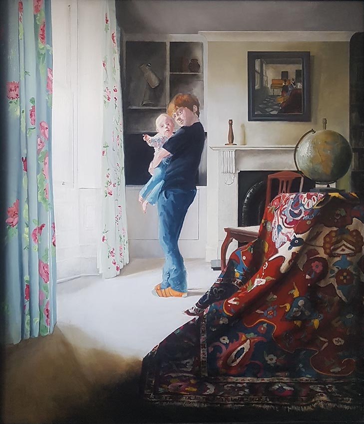'Self Portrait with My Little Sister Violet', Alfred Griffiths, Oil on board, 74 x 63 cm