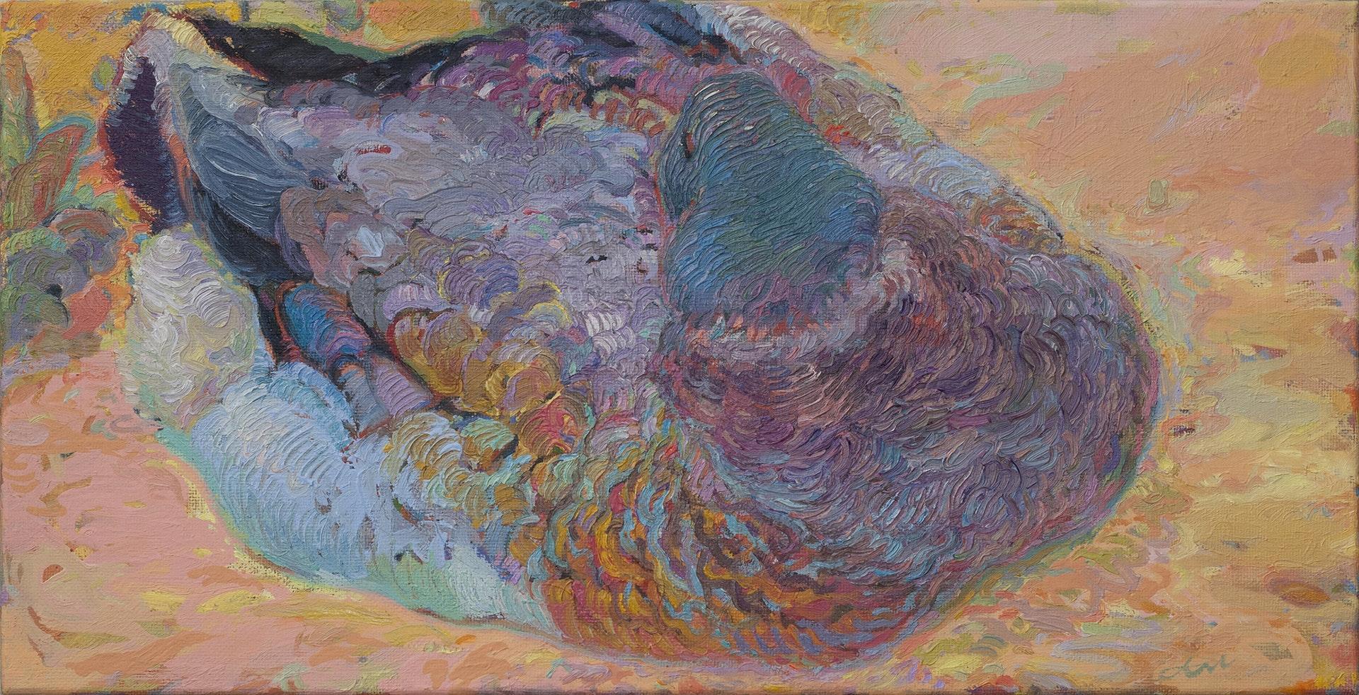 'The Duck', Aliaksandr Listsiukhin, Oil on linen, 40 x 80 cm