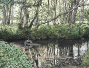 'The River Tillingbourne at Shere', Alison Powell, Coloured pencil on paper, 35 x 28 cm