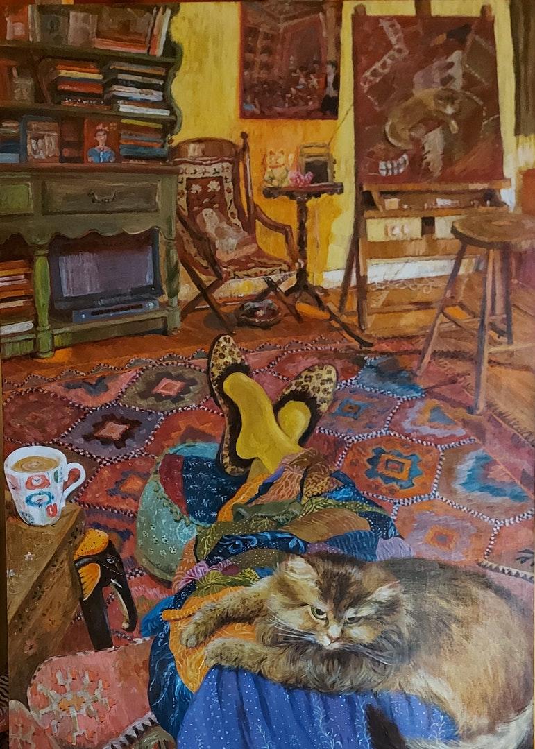 'A regular day in the studio', Amanda Rosenstein Davidson, Acrylic on wood, 84 x 60 cm