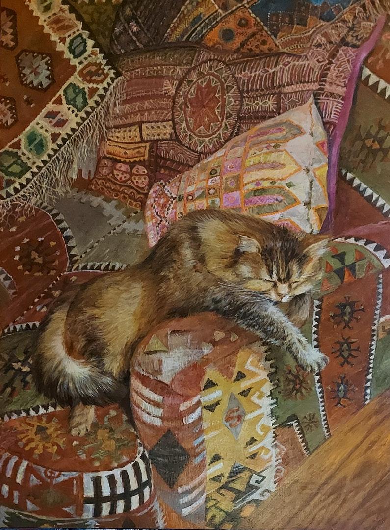 'Dolly on Kilim Sofa', Amanda Rosenstein Davidson, Acrylic on wood, 84 x 60 cm