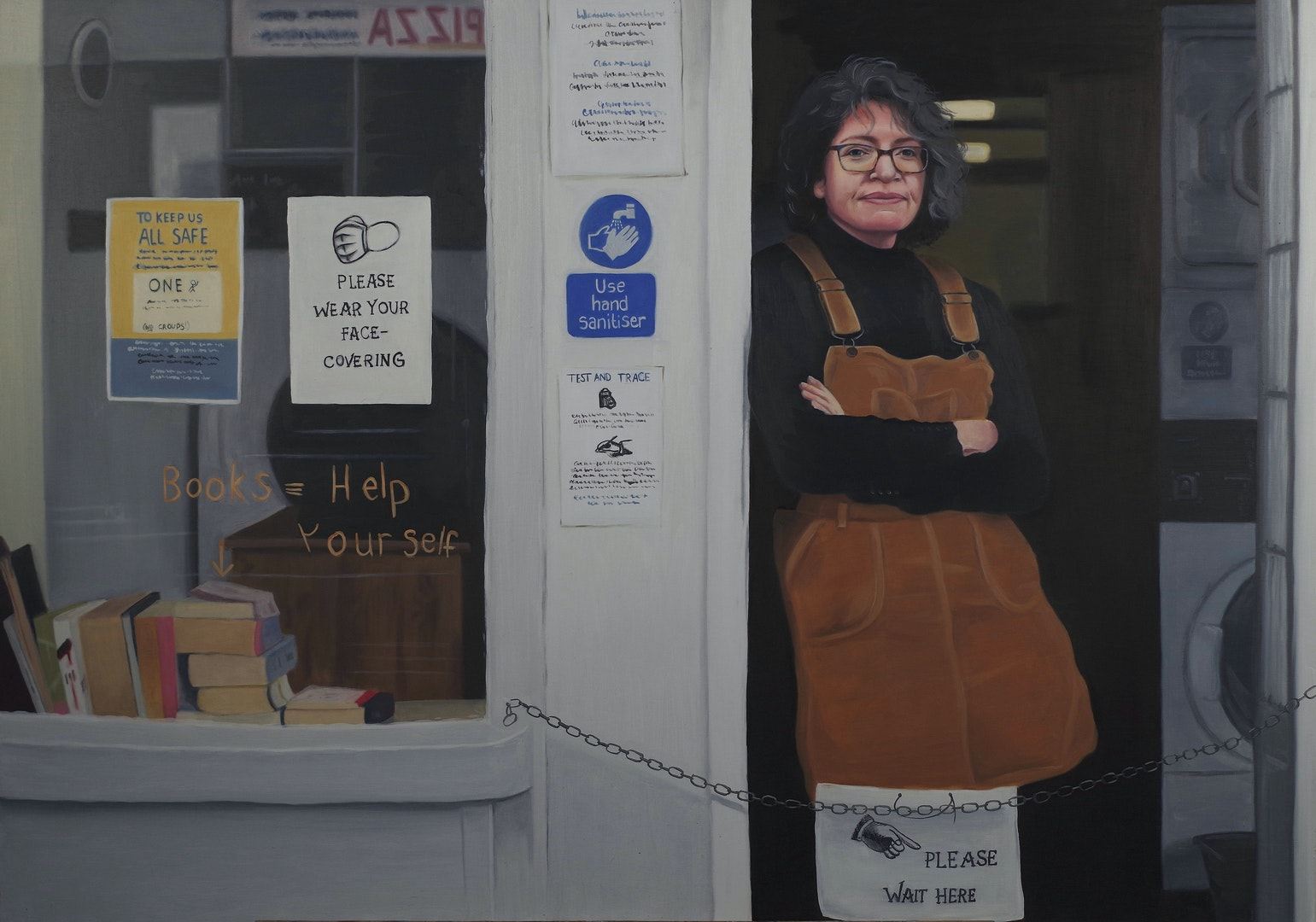 'Alice at the Laundrette', Amelia Webster, Oil on Board, 60 x 84 cm