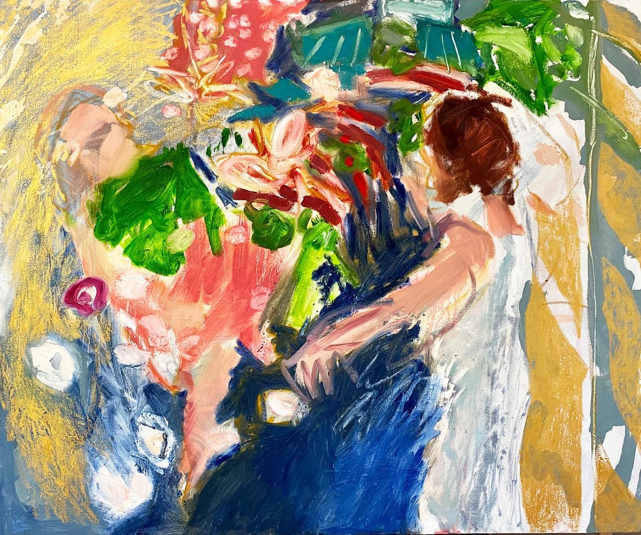 'Presence', Amy Robson, Oil and oil bar on canvas, 100 x 120 cm