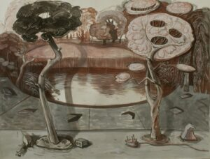 Pond', Angelina Davis, Watercolour, ink, and gouache on paper, 154 x 220 cm