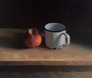 'Enamel mug with Peach', Angelo Murphy, Oil on canvas, 31 x 36 cm