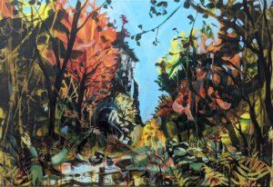 'Kisdon Gorge, Blazing', Anji Timlin, Acrylic on canvas, 76 x 51 cm