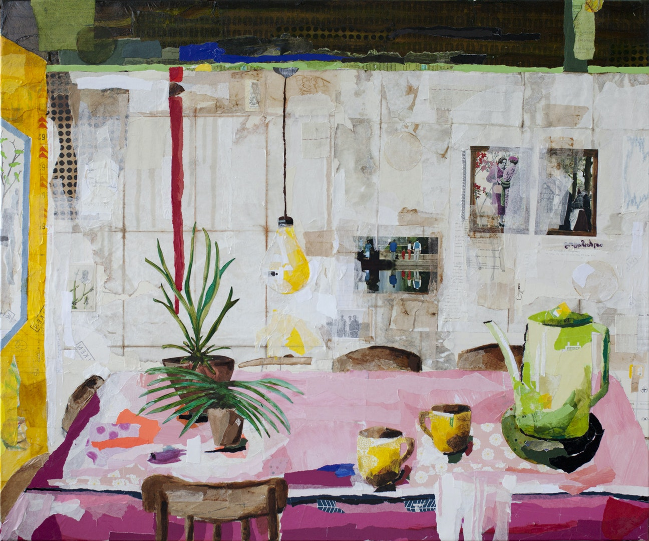 'Coffeebreak!', Astrid Vlasman, Paper and oil on canvas, 100 cm x 120 cm