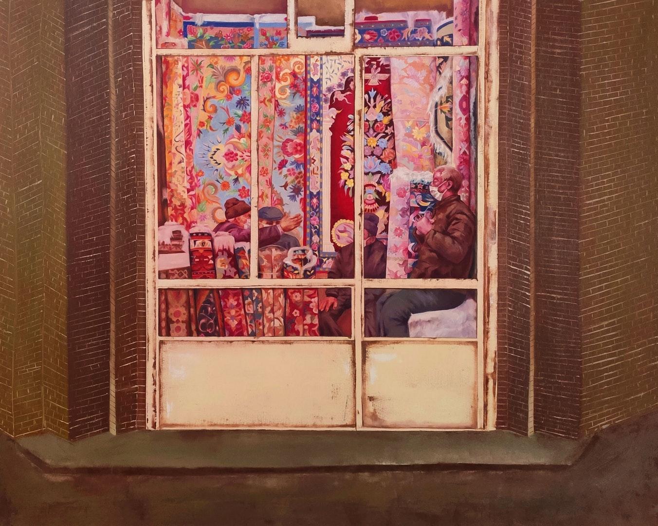 'Carpet Seller', Ayda Salami, Oil on canvas, 100 x 80 cm