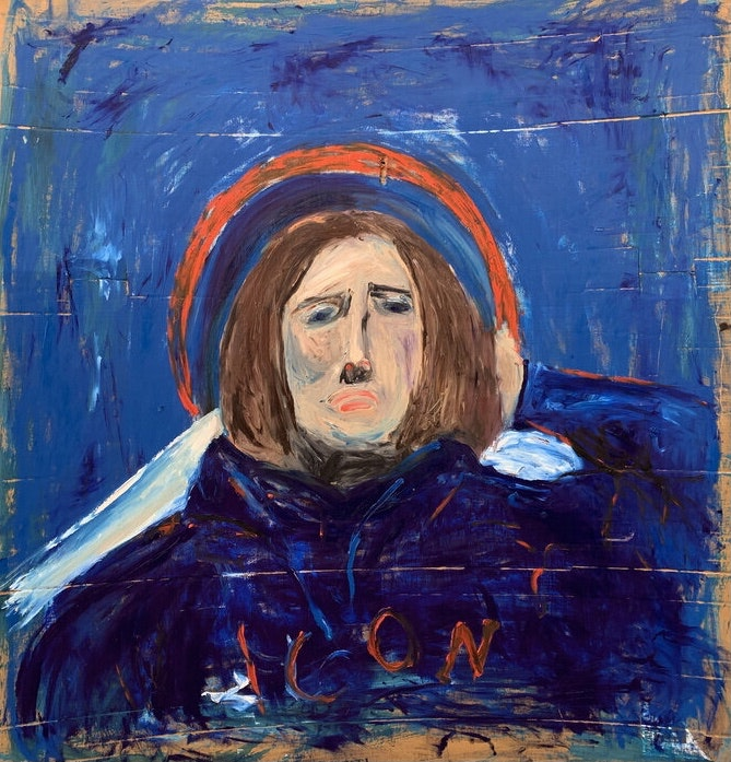 'Icon', Ayelen Cerda, Oil on cardboard, 158 x 144 cm