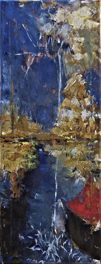 'Bay Fireworks, Red Amber Brixham Devon', Barbara King, Acrylic on canvas, 50 x 20 cm