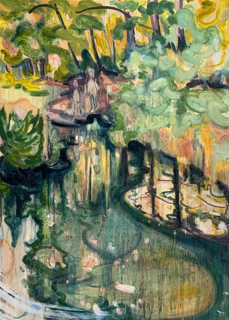 'In the Japanese Garden', Caroline Thomson, Oil on canvas, 71 x 51 cm