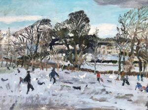 'Swanston Sledgers', Catharine Davison, Oil on board, 46 x 61 cm