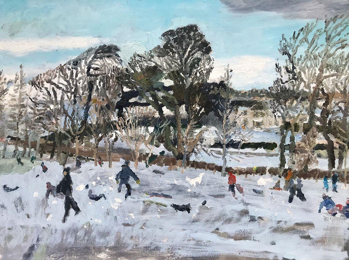 'Swanston Sledgers', Catharine Davison, Oil on board, 46 x 61 cm