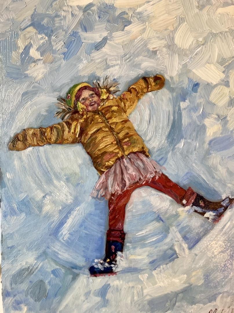 'Snow Angel', Catherine Corfield, Oil on board, 29.7 x 21 cm