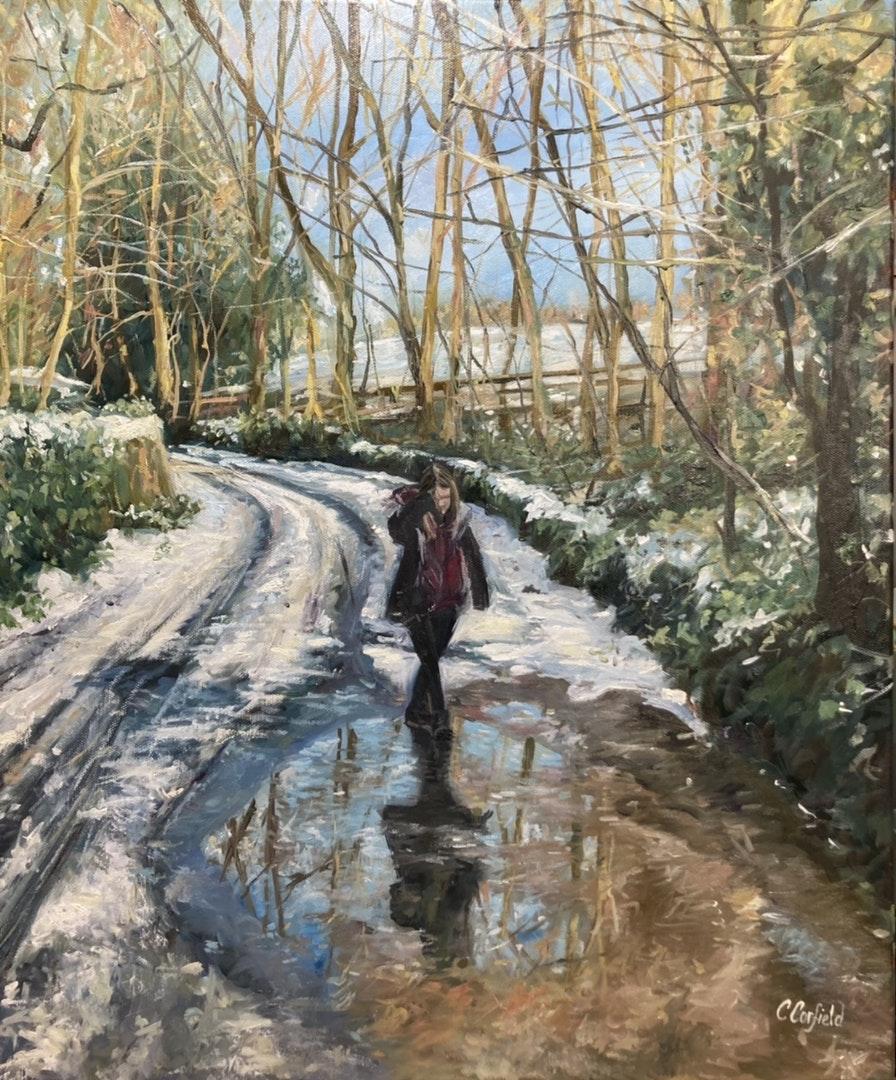 'Winter Sun', Catherine Corfield, Oil on canvas, 62 x 52 cm